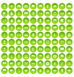 100 national flag icons set green circle vector image