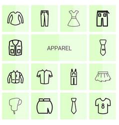 14 apparel icons vector