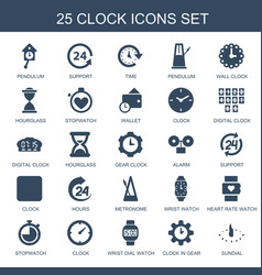 25 clock icons vector image