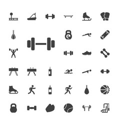 33 athletic icons vector