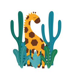 africa animals nature cute giraffes vector image