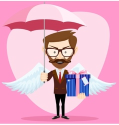 Angel Man with an umbrella Wings and Gift vector