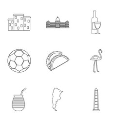 Argentina travel icons set outline style vector