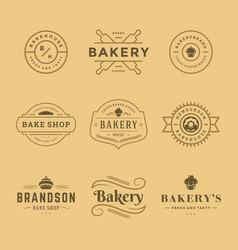 Bakery logos and badges design templates set vector