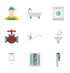 Bathroom icons set flat style vector