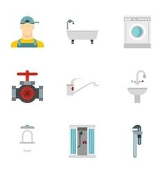 Bathroom icons set flat style vector