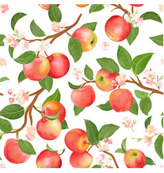 boho botanical apple seamless pattern vector image