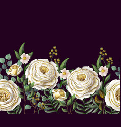 border with english yellow roses vector image