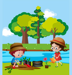 Boy and girl planting trees by river vector