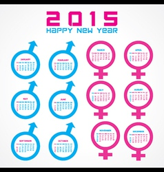 Calendar of 2015 with male and female symbol vector image
