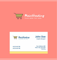 cart logo design with business card template vector image