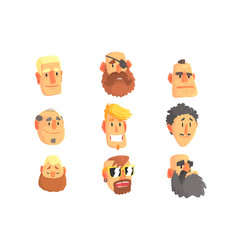 Cartoon avatar men faces with different emotions vector