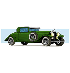 cartoon retro vintage luxury green car icon vector image