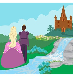 castle and princess with prince vector image