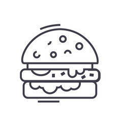 cheese burger line icon sign vector image