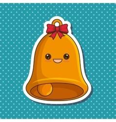 Christmas bell character kawaii style vector