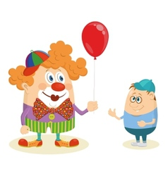 Circus clown with balloon and boy vector image vector image