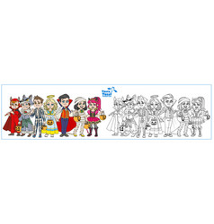 Company children dressed in costumes vector