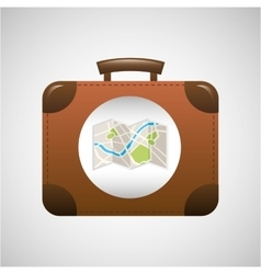 Concept travel suitcase vintage and map design vector