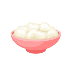 cottage cheese in a bowl healthy fresh dairy vector image