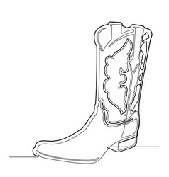 cowboy boot one single continuous line grap vector image