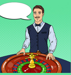 Croupier behind roulette table pop art vector
