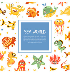 cute card design with marine animal and comic vector image
