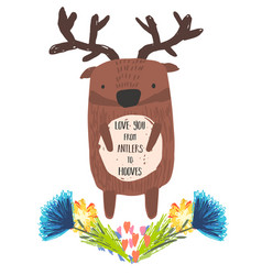 Cute childish hand drawn deer and flowers vector
