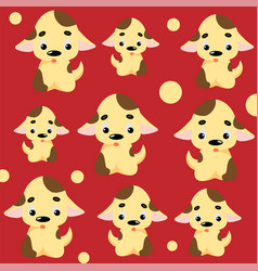 Cute dog pattern with puppies and circles vector