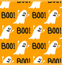 Cute ghosts halloween seamless pattern background vector