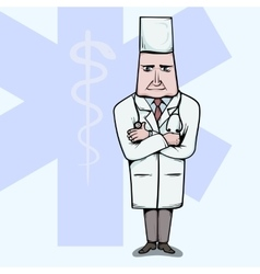 Doctor standing with crossed hands vector