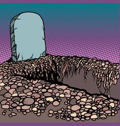 empty dug grave cemetery graveyard churchyard vector image