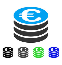 Euro coin stack flat icon vector