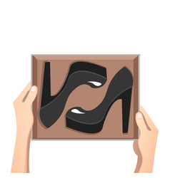 Fashion shoes on the boxes vector