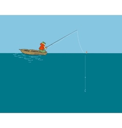 Fisherman in the boat with a fishing rod vector image