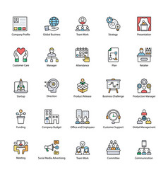Flat icons of business management vector