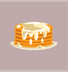 fresh tasty pancakes with cream on a plate vector image