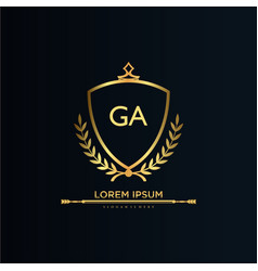 Ga letter initial with royal templateelegant vector