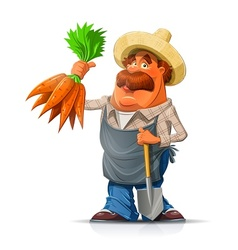 Gardener with carrot and vector image