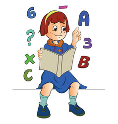 Girl studying math vector