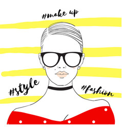 Glamour fashion beauty woman face in vector