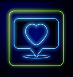 Glowing neon like and heart icon isolated on blue vector
