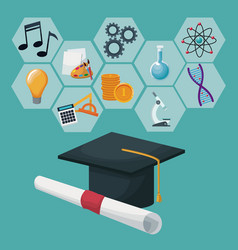 Graduation cap and certificate with gray color vector