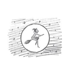 Hand drawn halloween magic woman flying on broom vector