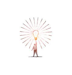 hand drawn man touching big bright light bulb vector image