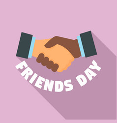 handshake friends day logo flat style vector image