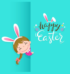 Happy easter greeting card with cute girl vector