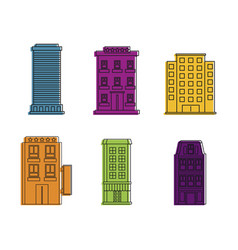 hotel icon set color outline style vector image