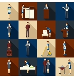 Hotel staff set vector