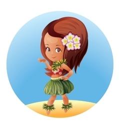 Hula dancer hawaiian cartoon character vector